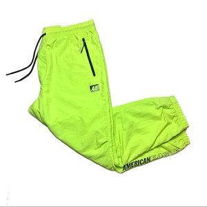 Neon Green American Eagle Nylon Joggers Large